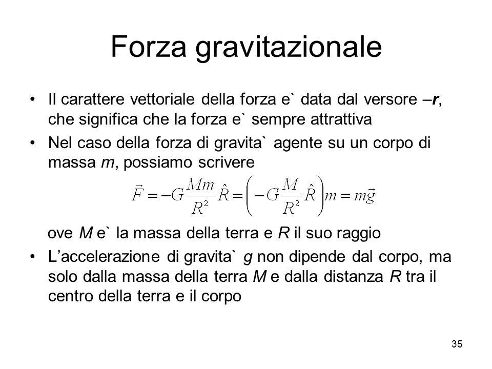 Forza gravitazionale Il carattere vettoriale della forza e` data dal versore –r, che significa che la forza e` sempre attrattiva Nel caso della forza
