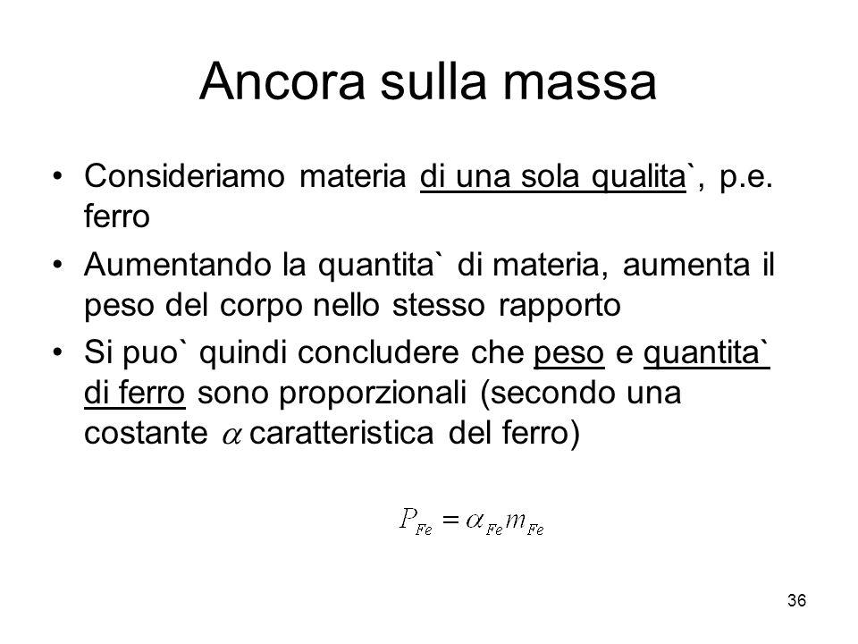 Ancora sulla massa Consideriamo materia di una sola qualita`, p.e.
