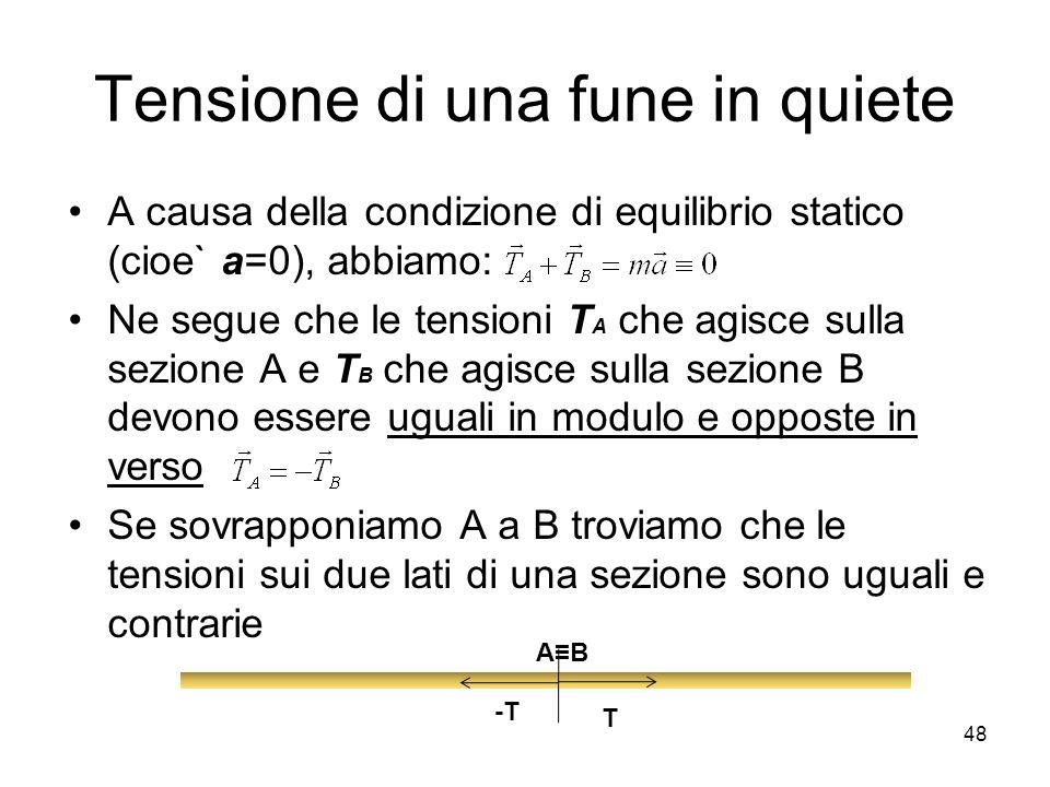 Tensione di una fune in quiete A causa della condizione di equilibrio statico (cioe` a=0), abbiamo: Ne segue che le tensioni T A che agisce sulla sezi