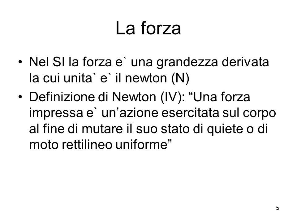 La forza Nel SI la forza e` una grandezza derivata la cui unita` e` il newton (N) Definizione di Newton (IV): Una forza impressa e` unazione esercitata sul corpo al fine di mutare il suo stato di quiete o di moto rettilineo uniforme 5