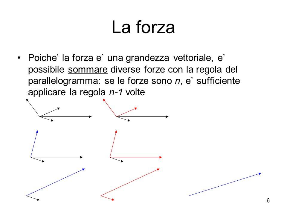La forza Poiche la forza e` una grandezza vettoriale, e` possibile sommare diverse forze con la regola del parallelogramma: se le forze sono n, e` suf