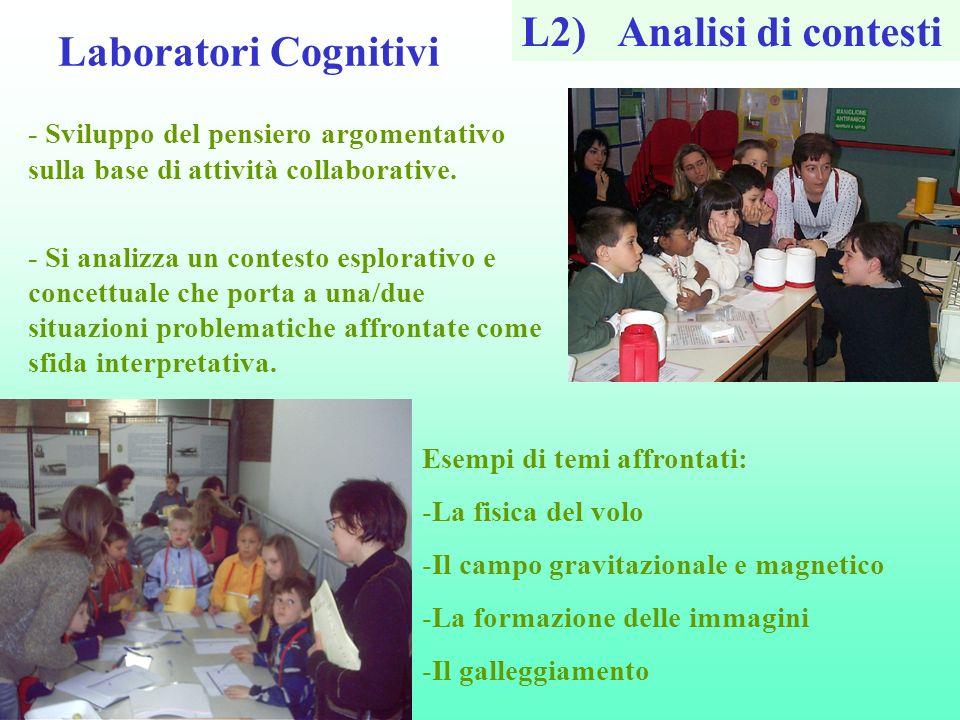 Laboratori Cognitivi L2)Analisi di contesti - Sviluppo del pensiero argomentativo sulla base di attività collaborative. - Si analizza un contesto espl