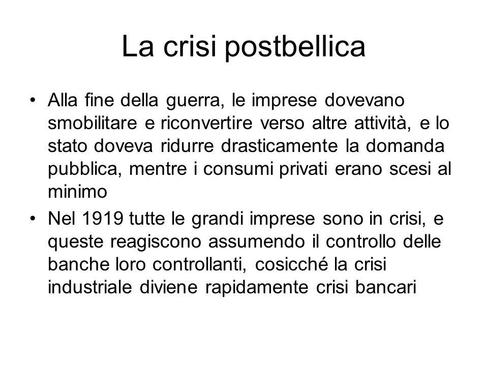 La crisi postbellica Alla fine della guerra, le imprese dovevano smobilitare e riconvertire verso altre attività, e lo stato doveva ridurre drasticame