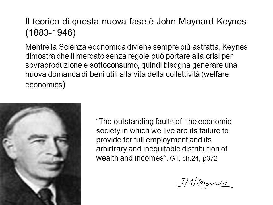 Il teorico di questa nuova fase è John Maynard Keynes (1883-1946) Mentre la Scienza economica diviene sempre più astratta, Keynes dimostra che il merc
