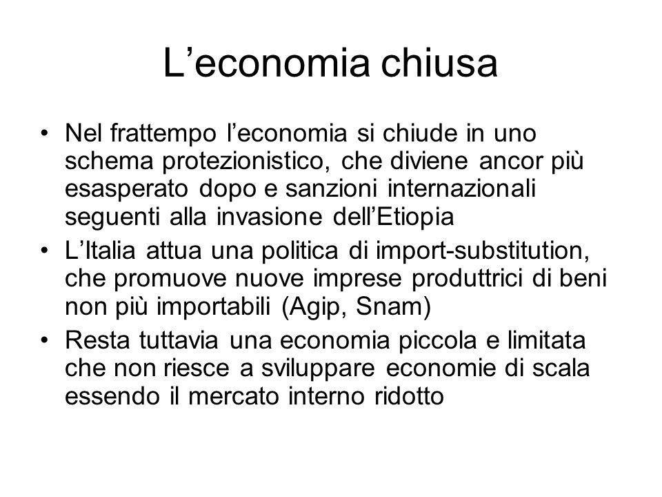 Leconomia chiusa Nel frattempo leconomia si chiude in uno schema protezionistico, che diviene ancor più esasperato dopo e sanzioni internazionali segu