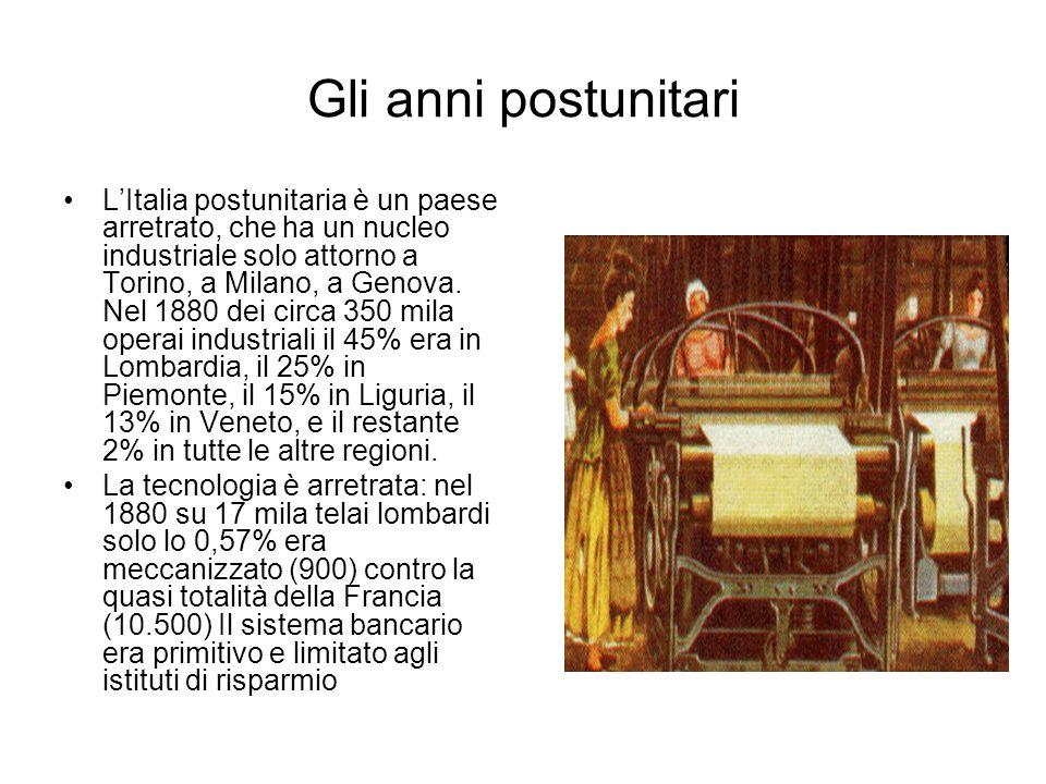 Gli anni postunitari LItalia postunitaria è un paese arretrato, che ha un nucleo industriale solo attorno a Torino, a Milano, a Genova. Nel 1880 dei c