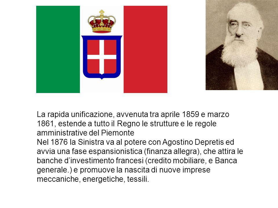 La rapida unificazione, avvenuta tra aprile 1859 e marzo 1861, estende a tutto il Regno le strutture e le regole amministrative del Piemonte Nel 1876