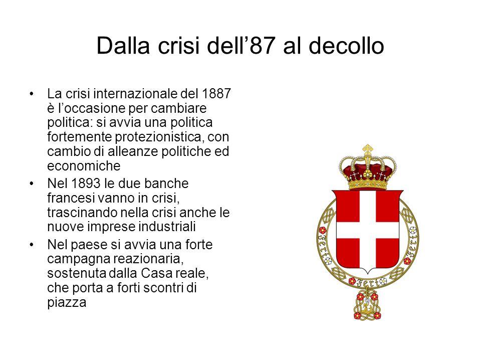Dalla crisi dell87 al decollo La crisi internazionale del 1887 è loccasione per cambiare politica: si avvia una politica fortemente protezionistica, c
