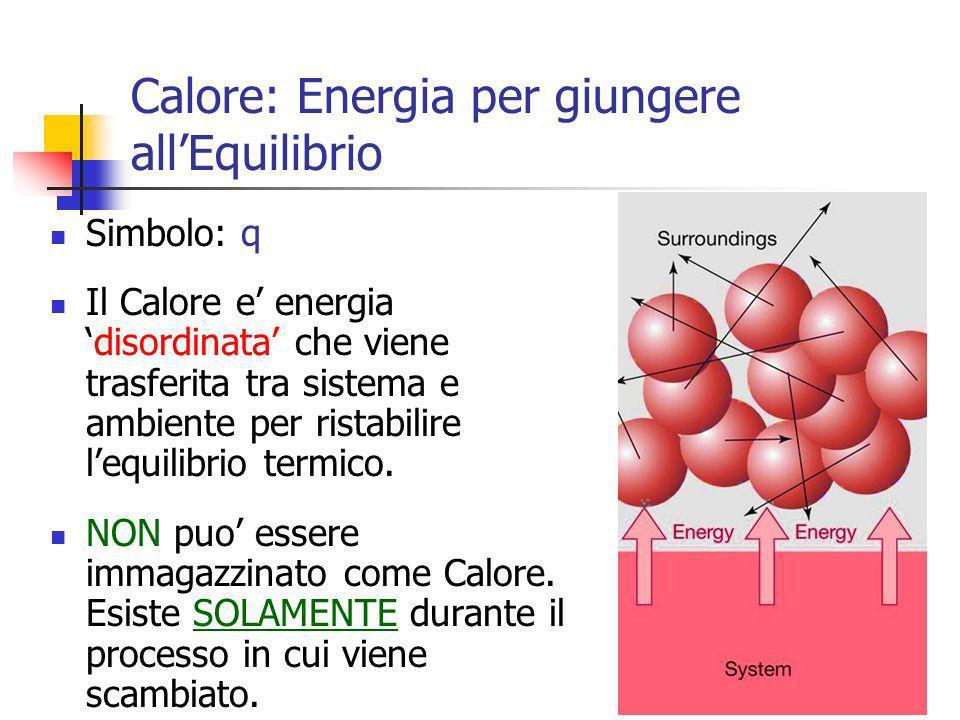 10 Simbolo: q Il Calore e energiadisordinata che viene trasferita tra sistema e ambiente per ristabilire lequilibrio termico. NON puo essere immagazzi