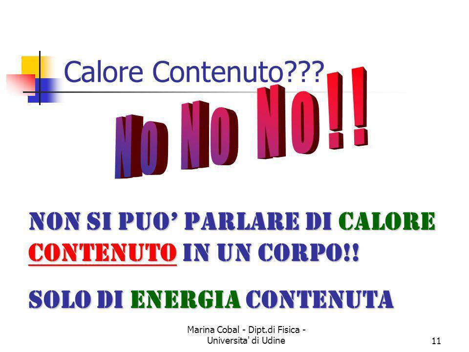Marina Cobal - Dipt.di Fisica - Universita' di Udine11 Non si puo parlare di Calore Contenuto Contenuto in un corpo!! Solo di Energia Energia contenut