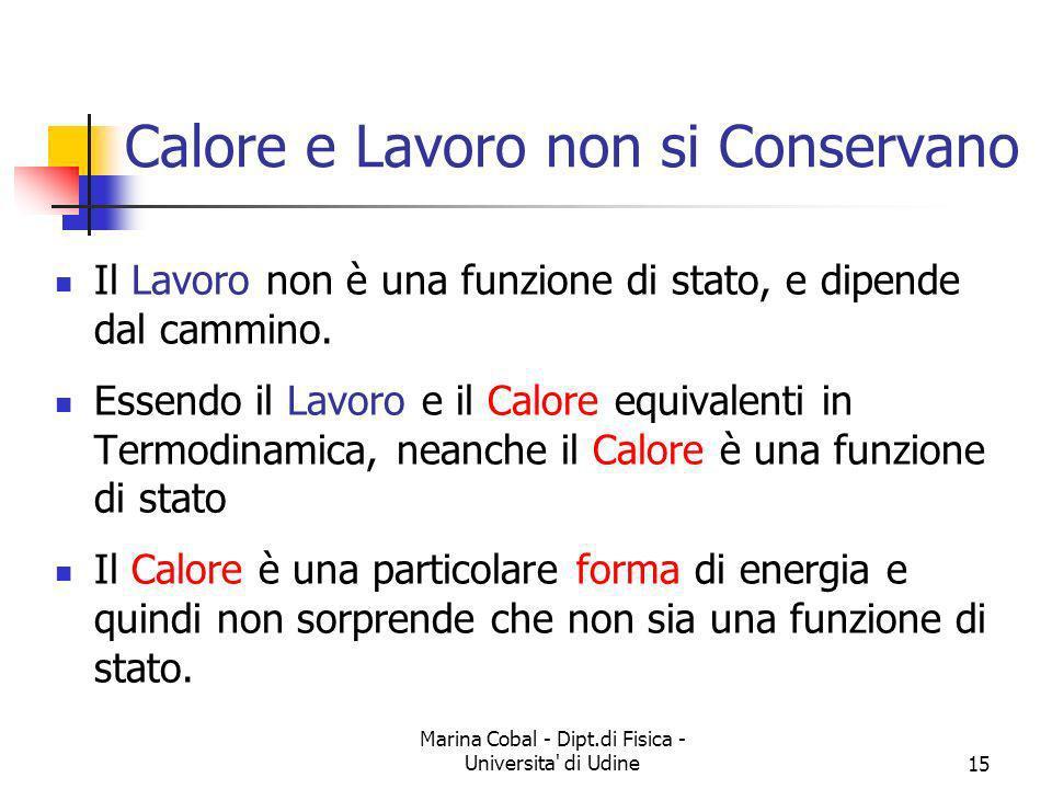 Marina Cobal - Dipt.di Fisica - Universita' di Udine15 Il Lavoro non è una funzione di stato, e dipende dal cammino. Essendo il Lavoro e il Calore equ