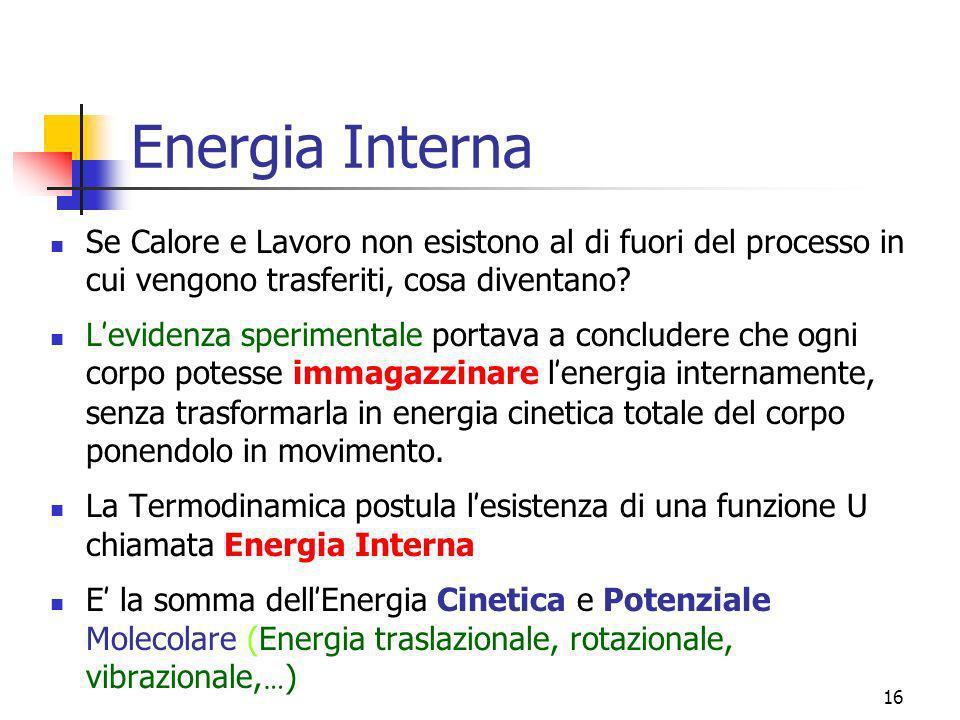 16 Energia Interna Se Calore e Lavoro non esistono al di fuori del processo in cui vengono trasferiti, cosa diventano? L evidenza sperimentale portava