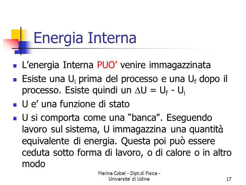 Marina Cobal - Dipt.di Fisica - Universita' di Udine17 Energia Interna Lenergia Interna PUO venire immagazzinata Esiste una U i prima del processo e u