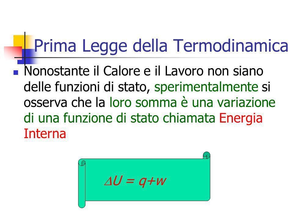 Prima Legge della Termodinamica Nonostante il Calore e il Lavoro non siano delle funzioni di stato, sperimentalmente si osserva che la loro somma è un