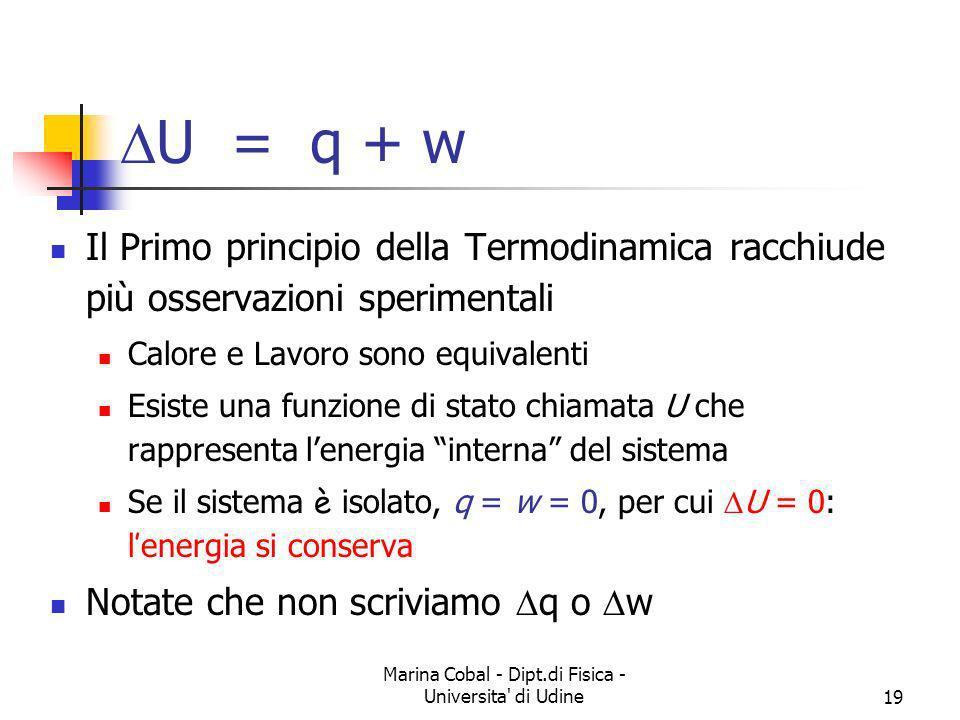 Marina Cobal - Dipt.di Fisica - Universita' di Udine19 Il Primo principio della Termodinamica racchiude più osservazioni sperimentali Calore e Lavoro