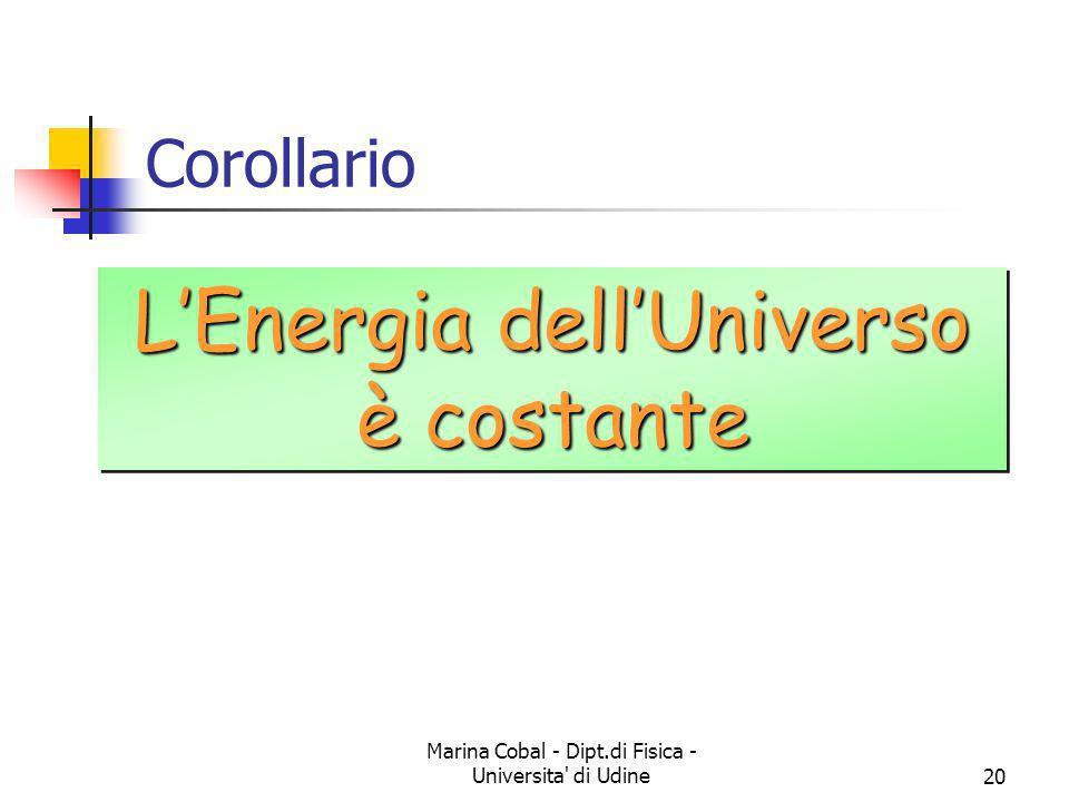 Marina Cobal - Dipt.di Fisica - Universita' di Udine20 Corollario LEnergia dellUniverso è costante