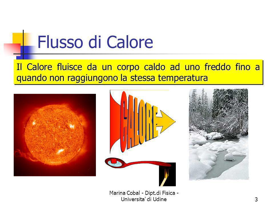 Marina Cobal - Dipt.di Fisica - Universita' di Udine3 Il Calore fluisce da un corpo caldo ad uno freddo fino a quando non raggiungono la stessa temper