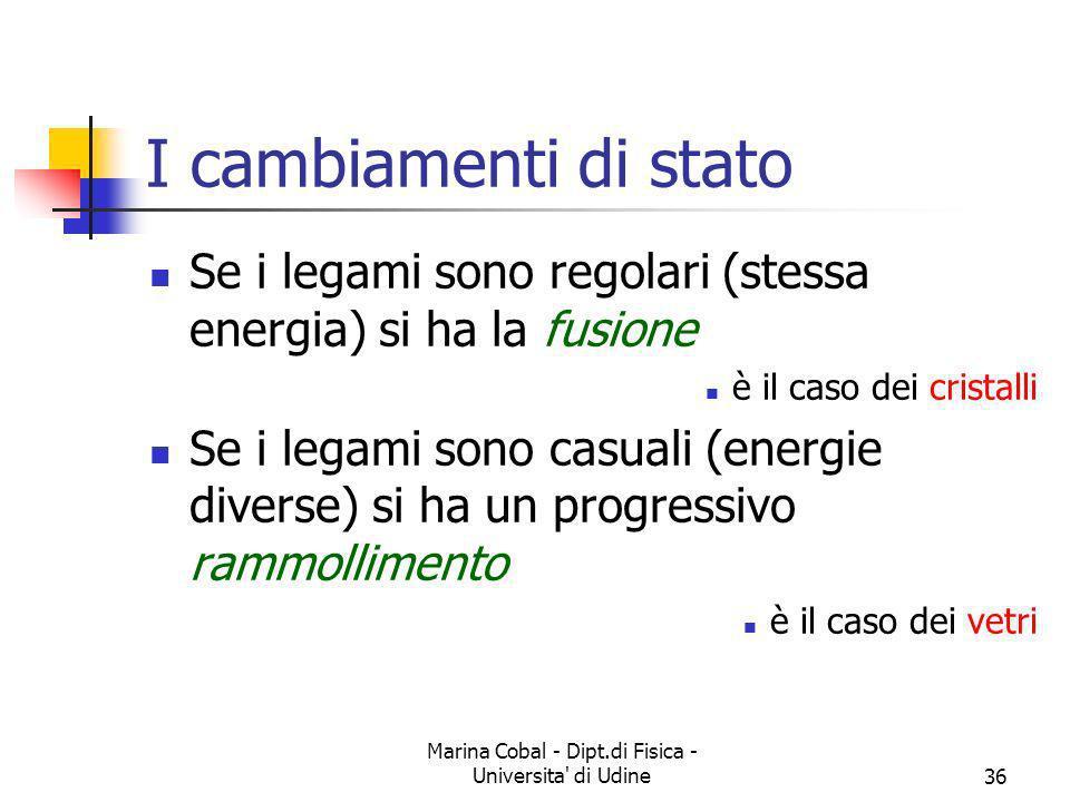 Marina Cobal - Dipt.di Fisica - Universita' di Udine36 I cambiamenti di stato Se i legami sono regolari (stessa energia) si ha la fusione è il caso de