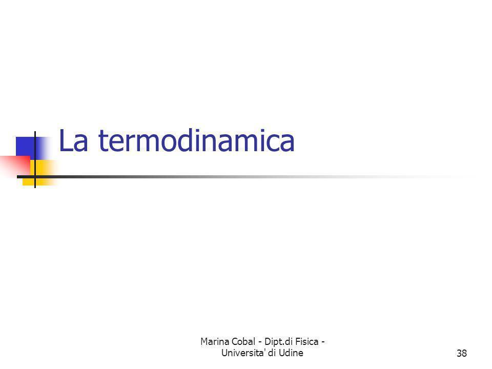 Marina Cobal - Dipt.di Fisica - Universita' di Udine38 La termodinamica