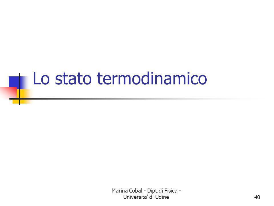 Marina Cobal - Dipt.di Fisica - Universita' di Udine40 Lo stato termodinamico