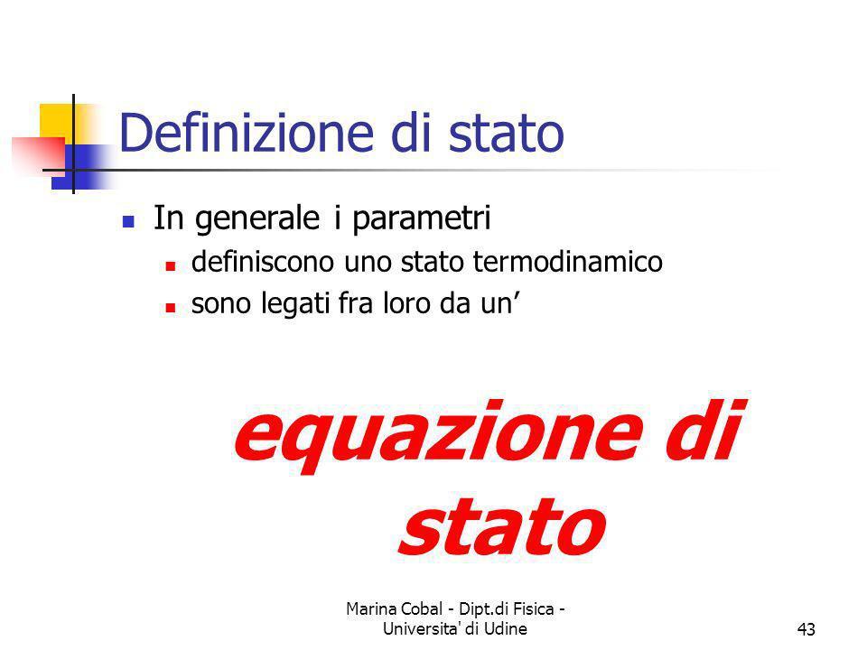 Marina Cobal - Dipt.di Fisica - Universita' di Udine43 Definizione di stato In generale i parametri definiscono uno stato termodinamico sono legati fr