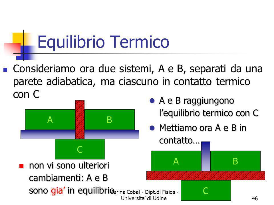 Marina Cobal - Dipt.di Fisica - Universita' di Udine46 Equilibrio Termico Consideriamo ora due sistemi, A e B, separati da una parete adiabatica, ma c