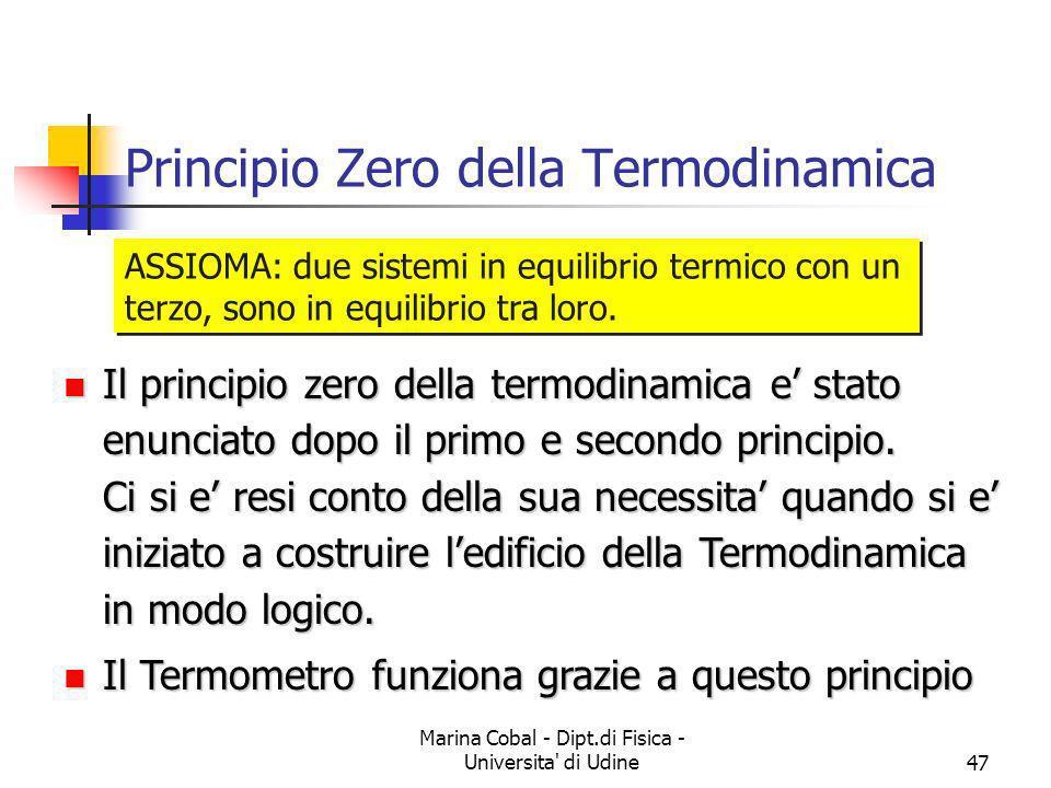 Marina Cobal - Dipt.di Fisica - Universita' di Udine47 Principio Zero della Termodinamica ASSIOMA: due sistemi in equilibrio termico con un terzo, son