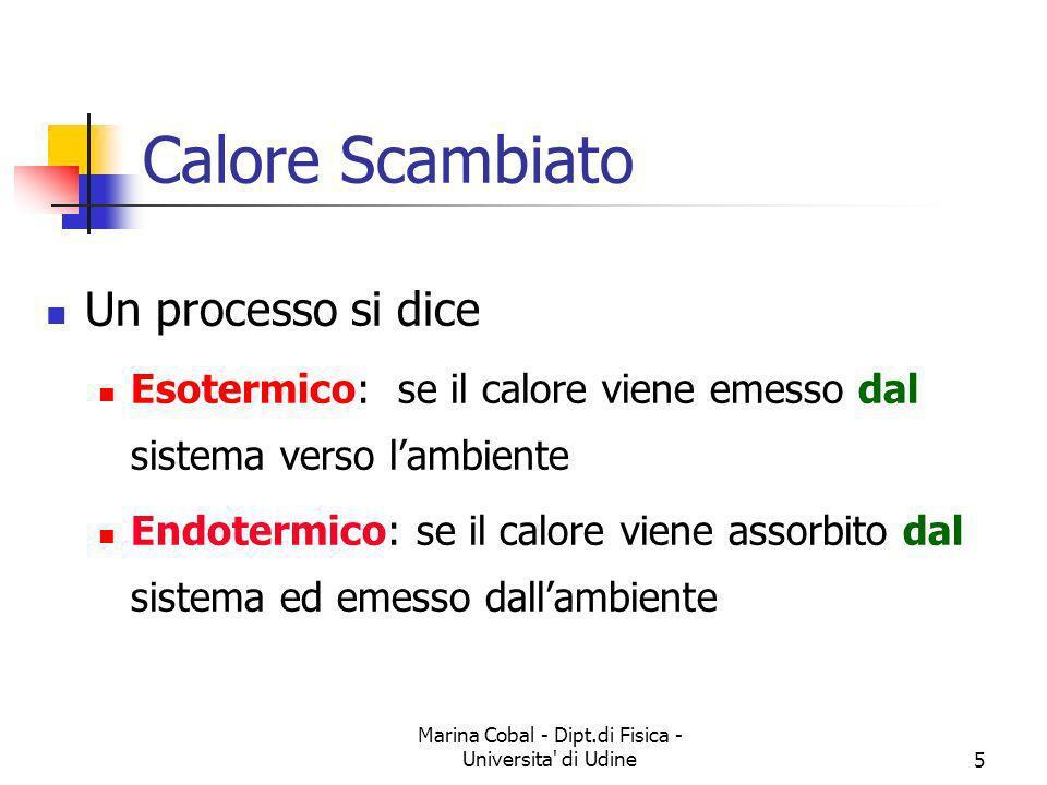 Marina Cobal - Dipt.di Fisica - Universita' di Udine5 Un processo si dice Esotermico: se il calore viene emesso dal sistema verso lambiente Endotermic