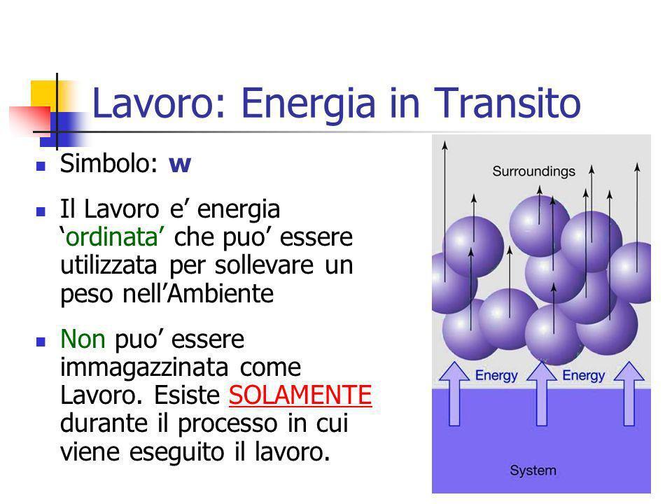 9 Simbolo: w Il Lavoro e energiaordinata che puo essere utilizzata per sollevare un peso nellAmbiente Non puo essere immagazzinata come Lavoro. Esiste
