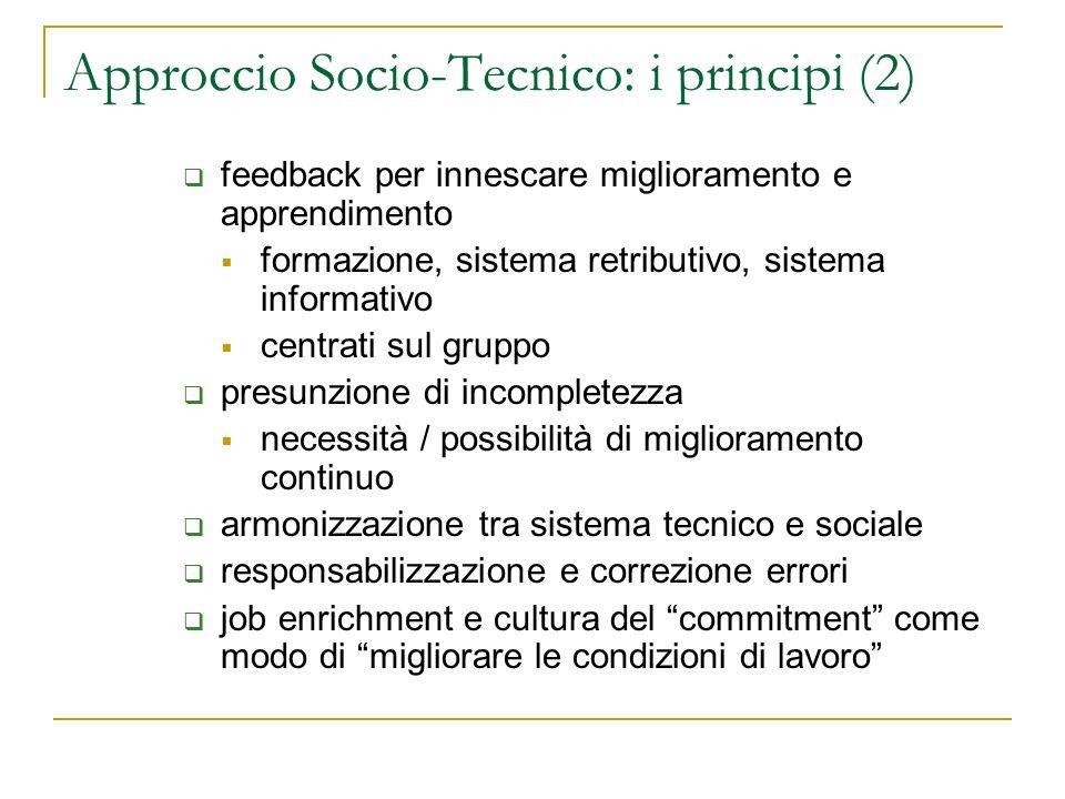 Approccio Socio-Tecnico: i principi (2) feedback per innescare miglioramento e apprendimento formazione, sistema retributivo, sistema informativo cent