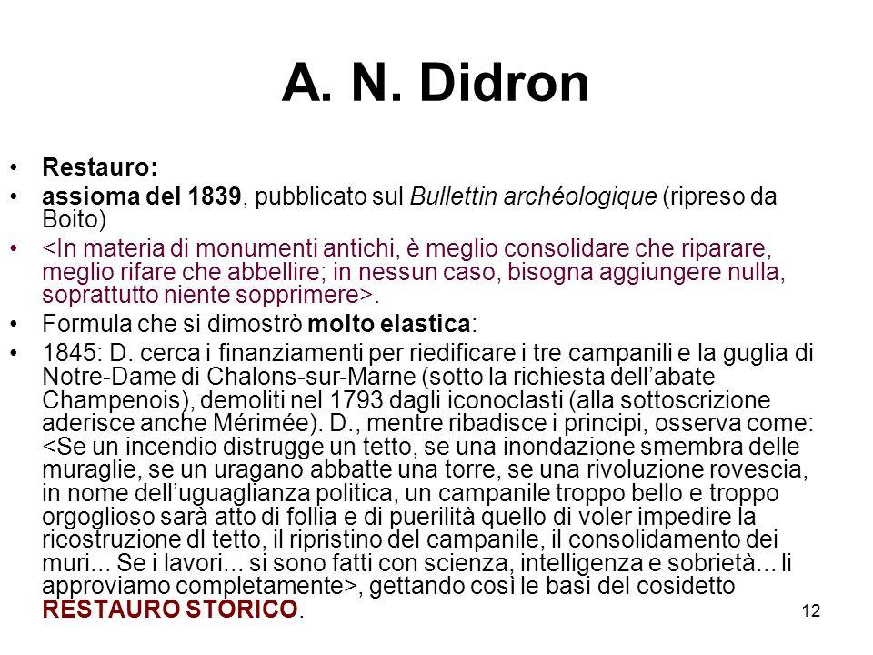 12 A. N. Didron Restauro: assioma del 1839, pubblicato sul Bullettin archéologique (ripreso da Boito). Formula che si dimostrò molto elastica: 1845: D