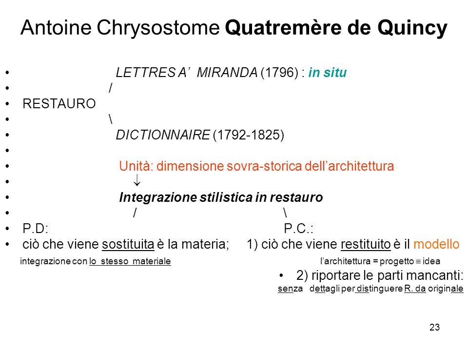 23 Antoine Chrysostome Quatremère de Quincy LETTRES A MIRANDA (1796) : in situ / RESTAURO \ DICTIONNAIRE (1792-1825) Unità: dimensione sovra-storica d