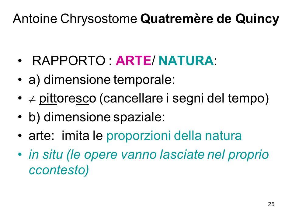 25 Antoine Chrysostome Quatremère de Quincy RAPPORTO : ARTE/ NATURA: a) dimensione temporale: pittoresco (cancellare i segni del tempo) b) dimensione