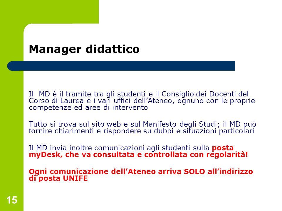 15 Manager didattico Il MD è il tramite tra gli studenti e il Consiglio dei Docenti del Corso di Laurea e i vari uffici dellAteneo, ognuno con le prop
