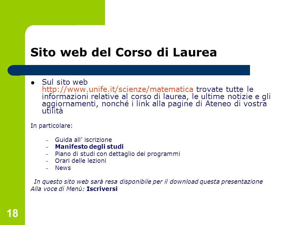 18 Sito web del Corso di Laurea Sul sito web http://www.unife.it/scienze/matematica trovate tutte le informazioni relative al corso di laurea, le ulti