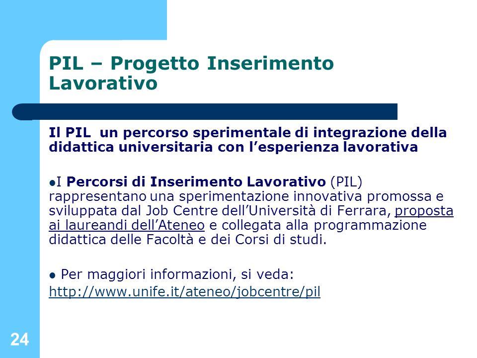 24 PIL – Progetto Inserimento Lavorativo Il PIL un percorso sperimentale di integrazione della didattica universitaria con lesperienza lavorativa I Pe