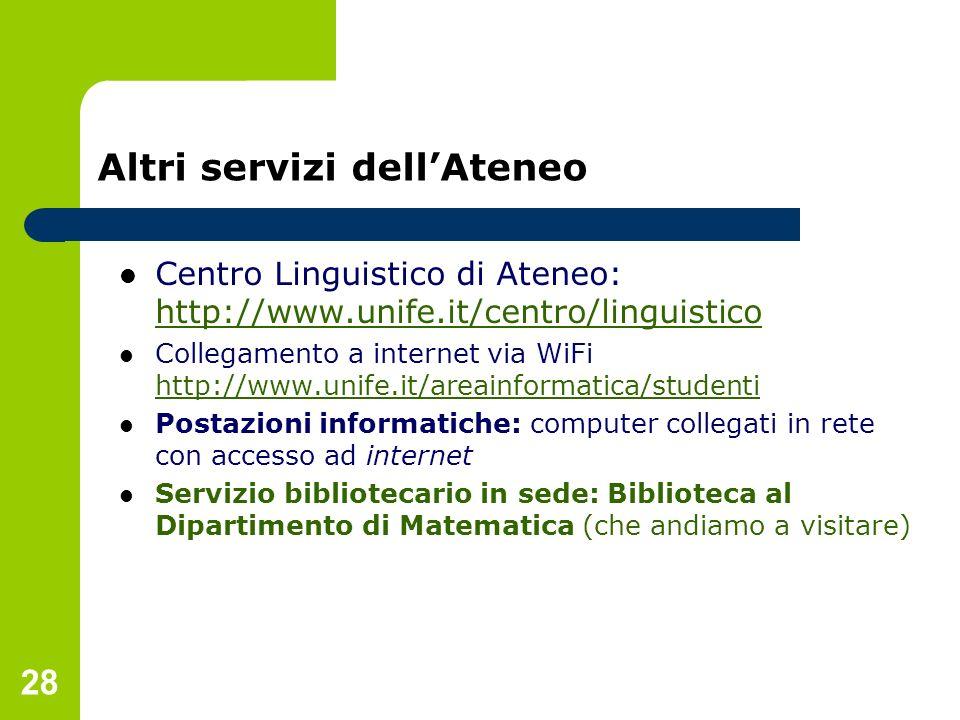 28 Altri servizi dellAteneo Centro Linguistico di Ateneo: http://www.unife.it/centro/linguistico http://www.unife.it/centro/linguistico Collegamento a