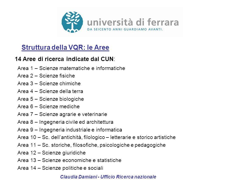 Struttura della VQR: le Aree 14 Aree di ricerca indicate dal CUN: Area 1 – Scienze matematiche e informatiche Area 2 – Scienze fisiche Area 3 – Scienz