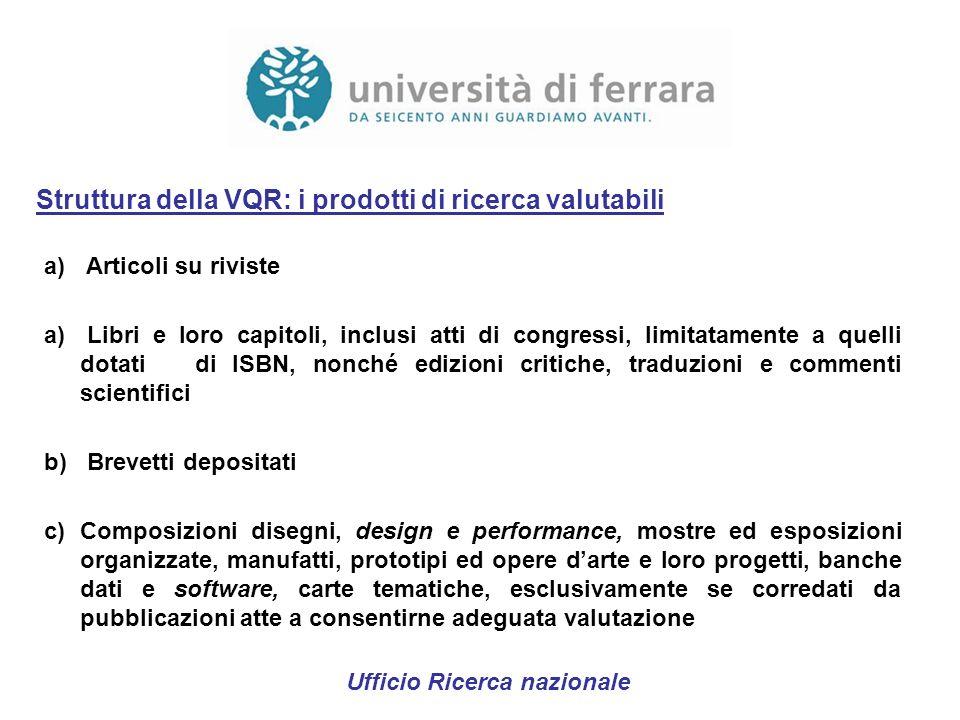 Struttura della VQR: i prodotti di ricerca valutabili a) Articoli su riviste a) Libri e loro capitoli, inclusi atti di congressi, limitatamente a quel