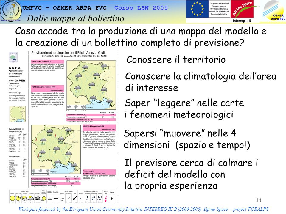 14 UMFVG - OSMER ARPA FVG Corso LSW 2005 Dalle mappe al bollettino Work part-financed by the European Union Community Initiative INTERREG III B (2000-