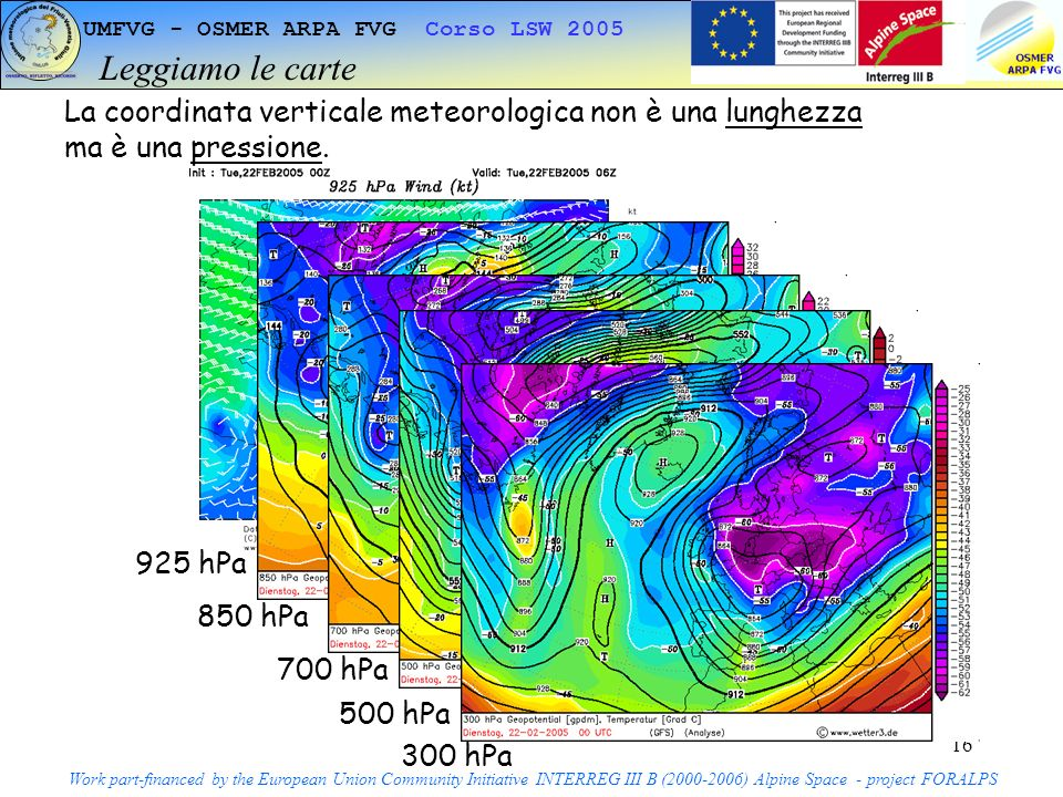 16 UMFVG - OSMER ARPA FVG Corso LSW 2005 Leggiamo le carte Work part-financed by the European Union Community Initiative INTERREG III B ( ) Alpine Space - project FORALPS La coordinata verticale meteorologica non è una lunghezza ma è una pressione.