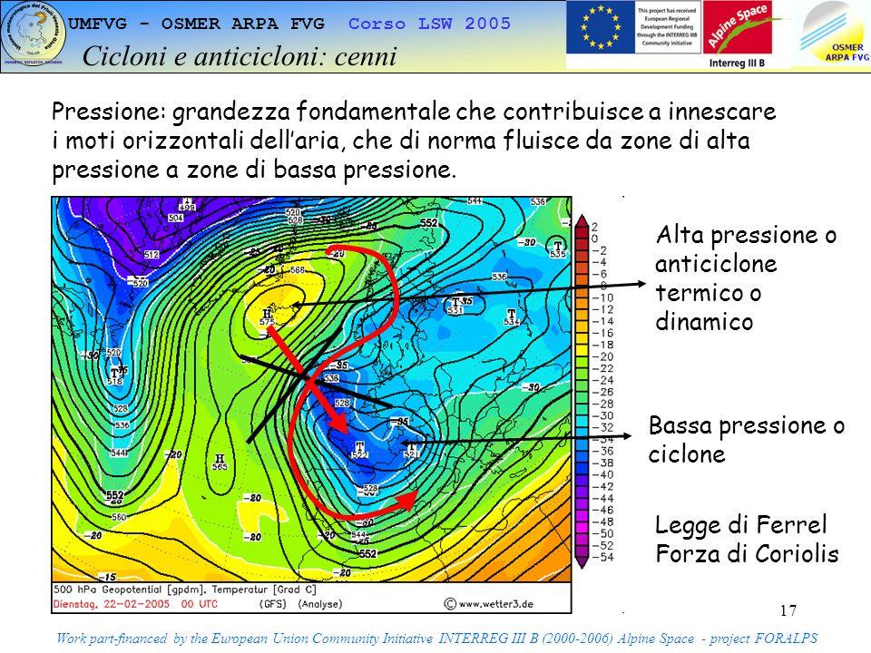 17 UMFVG - OSMER ARPA FVG Corso LSW 2005 Cicloni e anticicloni: cenni Work part-financed by the European Union Community Initiative INTERREG III B (2000-2006) Alpine Space - project FORALPS Pressione: grandezza fondamentale che contribuisce a innescare i moti orizzontali dellaria, che di norma fluisce da zone di alta pressione a zone di bassa pressione.