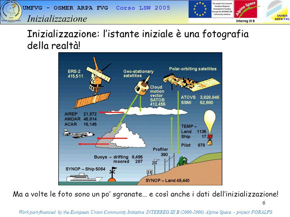 6 UMFVG - OSMER ARPA FVG Corso LSW 2005 Inizializzazione Work part-financed by the European Union Community Initiative INTERREG III B (2000-2006) Alpine Space - project FORALPS Inizializzazione: listante iniziale è una fotografia della realtà.
