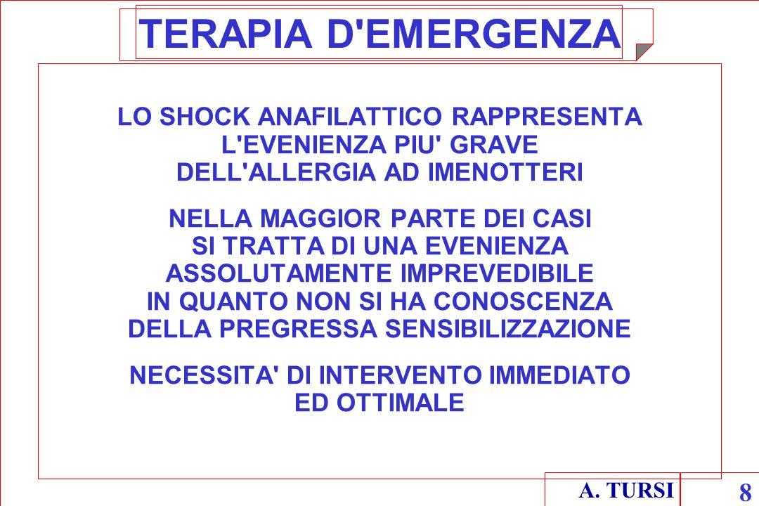A. TURSI 8 TERAPIA D'EMERGENZA LO SHOCK ANAFILATTICO RAPPRESENTA L'EVENIENZA PIU' GRAVE DELL'ALLERGIA AD IMENOTTERI NELLA MAGGIOR PARTE DEI CASI SI TR