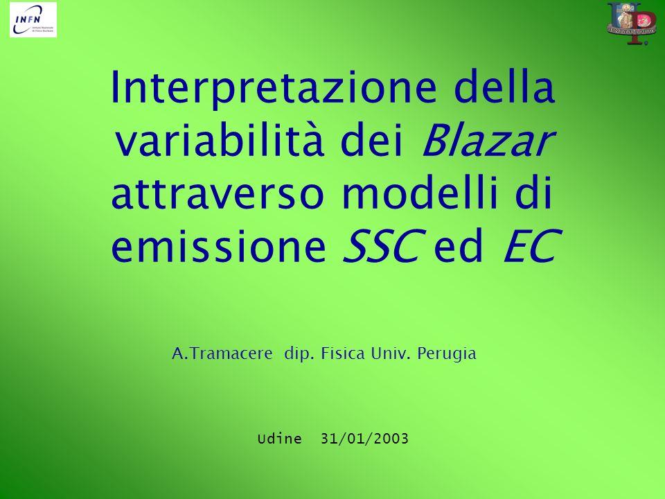 Interpretazione della variabilità dei Blazar attraverso modelli di emissione SSC ed EC A.Tramacere dip. Fisica Univ. Perugia Udine 31/01/2003