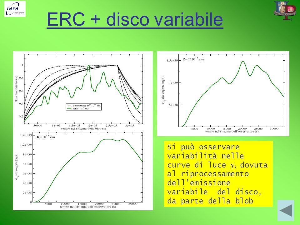 ERC + disco variabile Si può osservare variabilità nelle curve di luce dovuta al riprocessamento dellemissione variabile del disco, da parte della blo