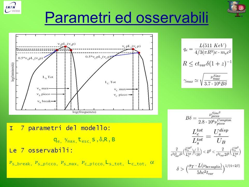 Parametri ed osservabili I 7 parametri del modello: q e, max, t esc, s, R,B Le 7 osservabili: s_break, s_picco, s_max, c_picco, L s_tot, L c_tot,