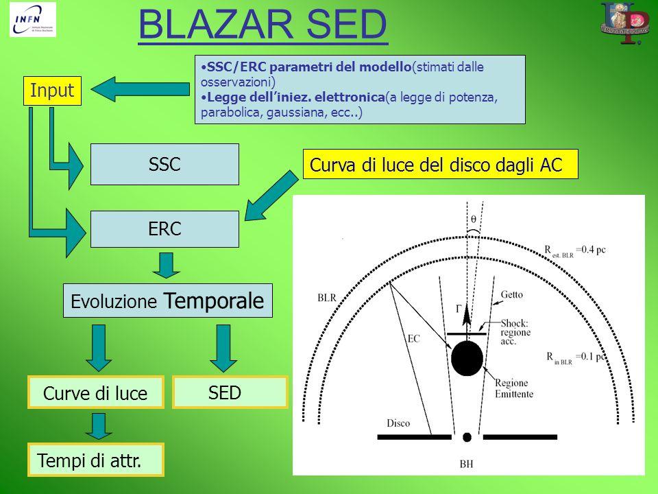 Input SSC Evoluzione Temporale ERC Curva di luce del disco dagli AC Curve di luceSED SSC/ERC parametri del modello(stimati dalle osservazioni) Legge d