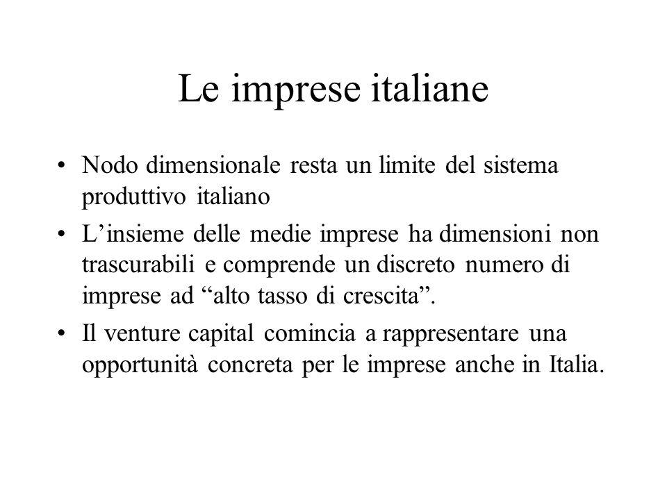 Le imprese italiane Nodo dimensionale resta un limite del sistema produttivo italiano Linsieme delle medie imprese ha dimensioni non trascurabili e co