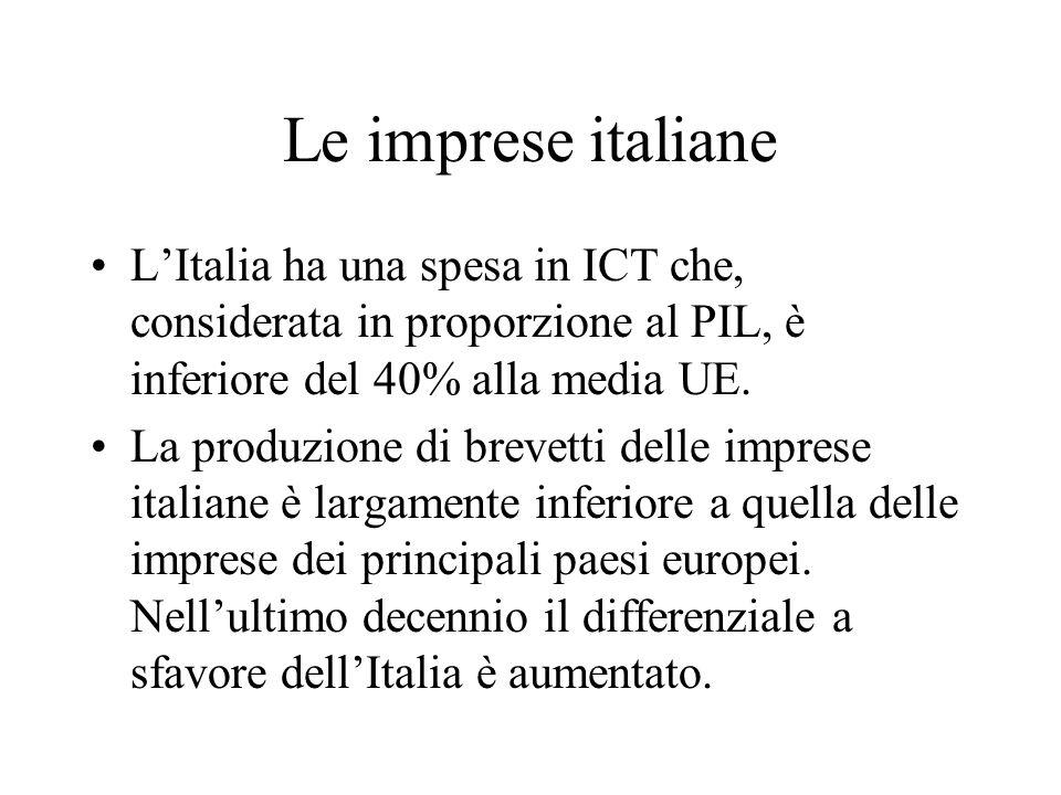 Le imprese italiane LItalia ha una spesa in ICT che, considerata in proporzione al PIL, è inferiore del 40% alla media UE. La produzione di brevetti d